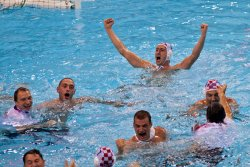 Croatia's Men's Water Polo team celebrates gold